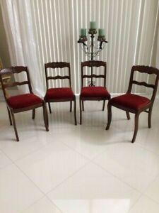 Tell City Vintage Antique Chairs Duncan Phyfe Carved Mahogany 4 Dining Side