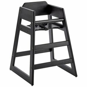 Restaurant Stackable Style Wooden High Chair Espresso Black Finish