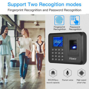 Aibecy Biometric Fingerprint Attendance Machine With 2 4 Lcd Time Clock M0g8