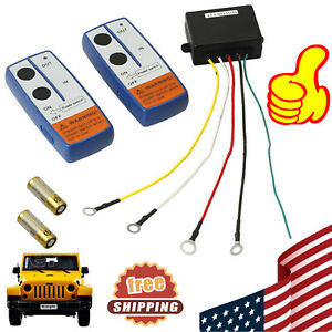 12v Wireless Winch Remote Control Controlller Kit For Jeep Car Truck Atv 100ft
