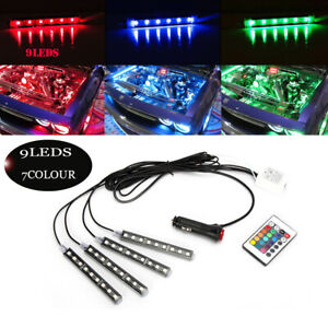 4pcs 7 Rgb Blue Smd Led Ambient Styling Lighting Kit For Car Interior Decoration