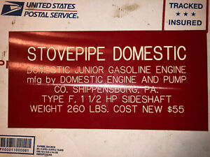 Stovepipe Domestic 1 1 2hp Sign Hit Miss Stationary Engine