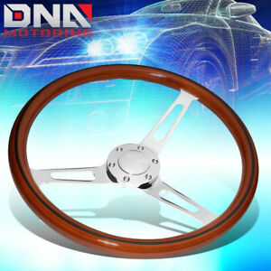 38cm 2 Deep Dish Stainless Steel Spokes 6 Bolt Classic Wood Grain Steering Whe