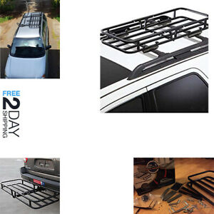 2 In 1 Steel Hitch Mount Roof Cargo Carrier Luggage Basket Receiver Trailer Rack