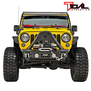 Tidal Stinger Front Bumper With Winch Plate Fit For 07 18 Jeep Wrangler Jk