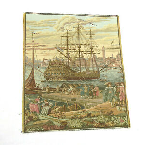 Vintage Medieval Ship Boat Woven Tapestry Wall Hanging 15 5 X 18