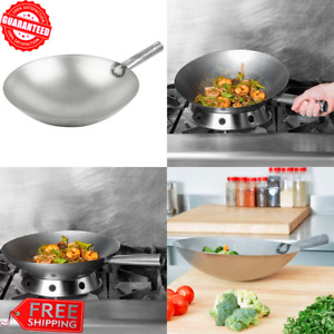 Commercial Carbon Steel Mandarin Wok Pan 14 Kitchen Restaurant Induction Ready