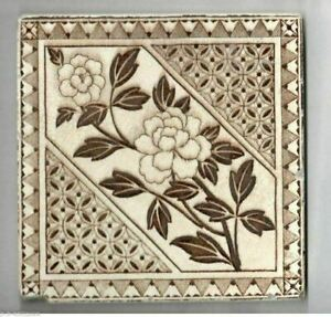Antique Tile Brown White Aesthetic Movement C 1890s Flowers Geometric Shapes