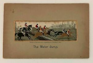 Antique Victorian Silk Stevengraph The Water Jump English Fox Hunting Scene