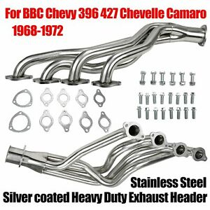 For 68 72 Bbc Chevy 396 427 Chevelle Camaro Heavy Duty Headers Silver Coated