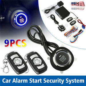 Car Alarm System Security Keyless Entry Button Remote Engine Start Kit Us Ship