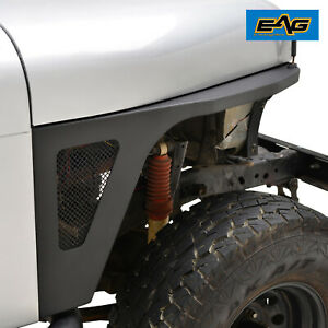 Eag Front Fender With Led Eagle Lights Black Fit For 76 86 Jeep Wrangler Cj