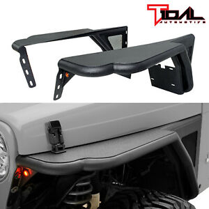 Tidal Steel Tube Front Fender Flare Rocker Guard Fit 97 06 Jeep Wrangler Tj