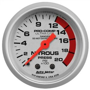 Autometer 4328 Ultra Lite Mechanical Nitrous Pressure Gauge
