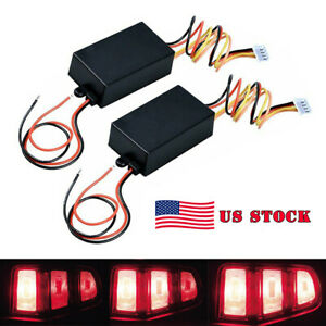 Us Pair 3 step Sequential Flow Semi Dynamic Chase Flash Tail Light Module Boxes