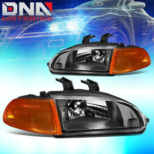 For 1992 1995 Honda Civic Oe Style Black Housing Amber Corner Headlight Lamps