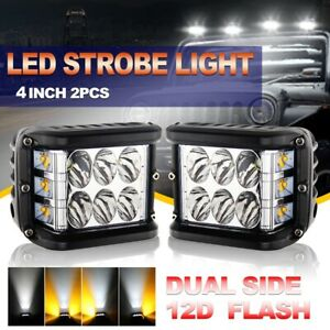 4inch Cree Work Spot Flood Driving Fog Pods Led Light Bar Cube Side Shooter 2pcs