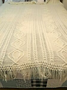 Knitted Bed Cover Made In 1890s Antique 72 X75