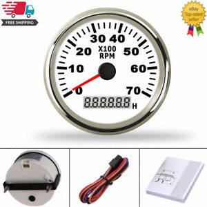 85mm Stainless Steel Boat Tachometer 0 7000 Rpm Rev Counter For Outboard Motor