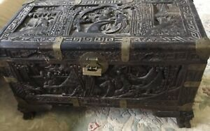 Chinese Antique Camphor Carved Wood Trunk Chest Box Ornate Scholar Brass Mounts
