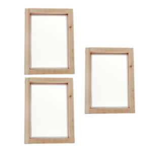 3pcs Screen Printing Mesh Screen With Natural Wooden Frame 77t 25x35cm Accessory