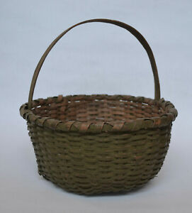 American 19th Century Handled Splint Basket Original Paint