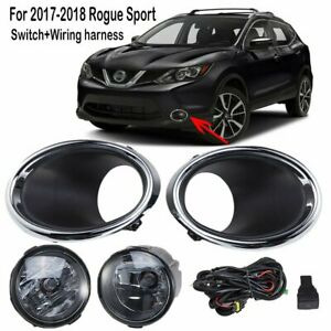 For Nissan Rogue Sport 2017 2019 Fog Light Lamp W bulb switch harness cover 1set