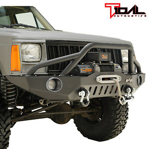 Tidal Fit For 84 01 Jeep Cherokee Xj Off Road Front Bumper W Led Lights