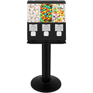 Triple Gumball Machine Candy Vending With Stand Bubble Gum Dispenser Bank W keys