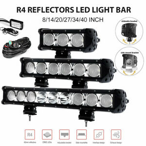 8 14 20 27 34 40 Inch Cree Led Light Bar Spot Flood Combo Work Lamp Atv Offroad