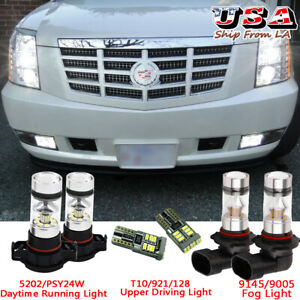 6x Led Fog Lamp Driving Light Drl Bulbs Combo For 2007 2014 Cadillac Escalade