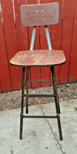Vintage Pollard Industrial Factory Steel Stool Contour Wood Seat With Back D
