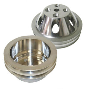 For Small Block Chevy Lwp Aluminum 2 Groove Water Pump Crankshaft Pulley Kit