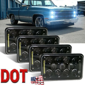 Dot Approved 4pcs 4x6 Led Headlights Hi lo Beam For Chevy C10 C20 C30 Camaro Ei