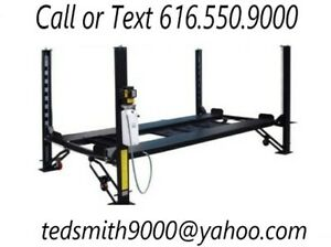 New 8 000 Lbs 4 post Car Auto Lift W Casters Ramps Jack Tray