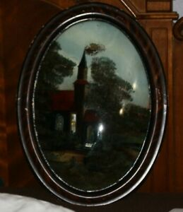 Antique Oval Framed Reverse Painting Convex Bubble Glass Vintage Church