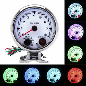 3 75 Chrome Car Tachometer Gauge Tachometer 7 Color Led Shift Light 0 8000 Rpm