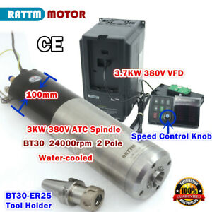 3kw Atc Automatic Tool Change Bt30 Water Cooled Spindle Motor 3 7kw 380v Vfd Cnc