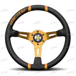 Momo Steering Wheel Leather Drift Orange Vdrift35near