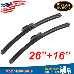 26 16 Windshield Wiper Blades Car Front Bracketless Premium All Season New