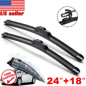 24 18 Windshield Wiper Blades High Quality J Hook Premium Hybrid Silicone Us