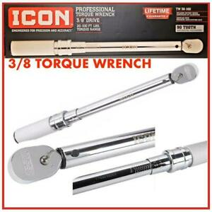 New Sealed Icon Professional Torque Wrench 3 8 Drive 20 100 Ft Lbs Tw38 100
