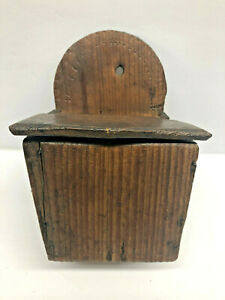 Antique Southwest Indian Decorated Salt Spice Mesquite Wall Hanging Pantry Box