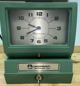 Acroprint Time Recorder Co Time Clock Traditional Punch Clock 125nr4 W key