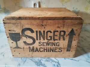Double Sided Wooden Shipping Crate Box Singer Sewing Machines Advertising Sign