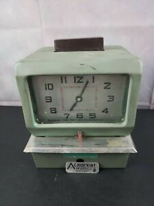 Acroprint Time Recorder Co Traditional Time Punch Clock 125nr4 Missing Key Work