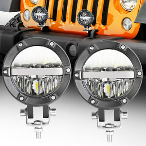 2x 4 90w Round Led Lights Pods Hi low Beam Driving Headlight Lamp Off Road 4wd