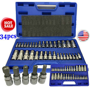 Master Hex Bit Socket Set 34pc Standard Allen 1 4 3 8 1 2 Sae Metric Case Us