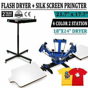 4 Color 2 Station Silk Screen Printing Machine 24 Flash Dryer T shirt Press Kit