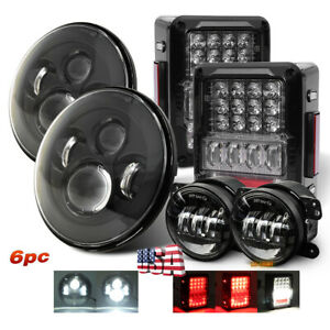 7 Led Headlights Fog Light Tail Lights Combo Kit For Jeep Wrangler Jk Jku 07 17